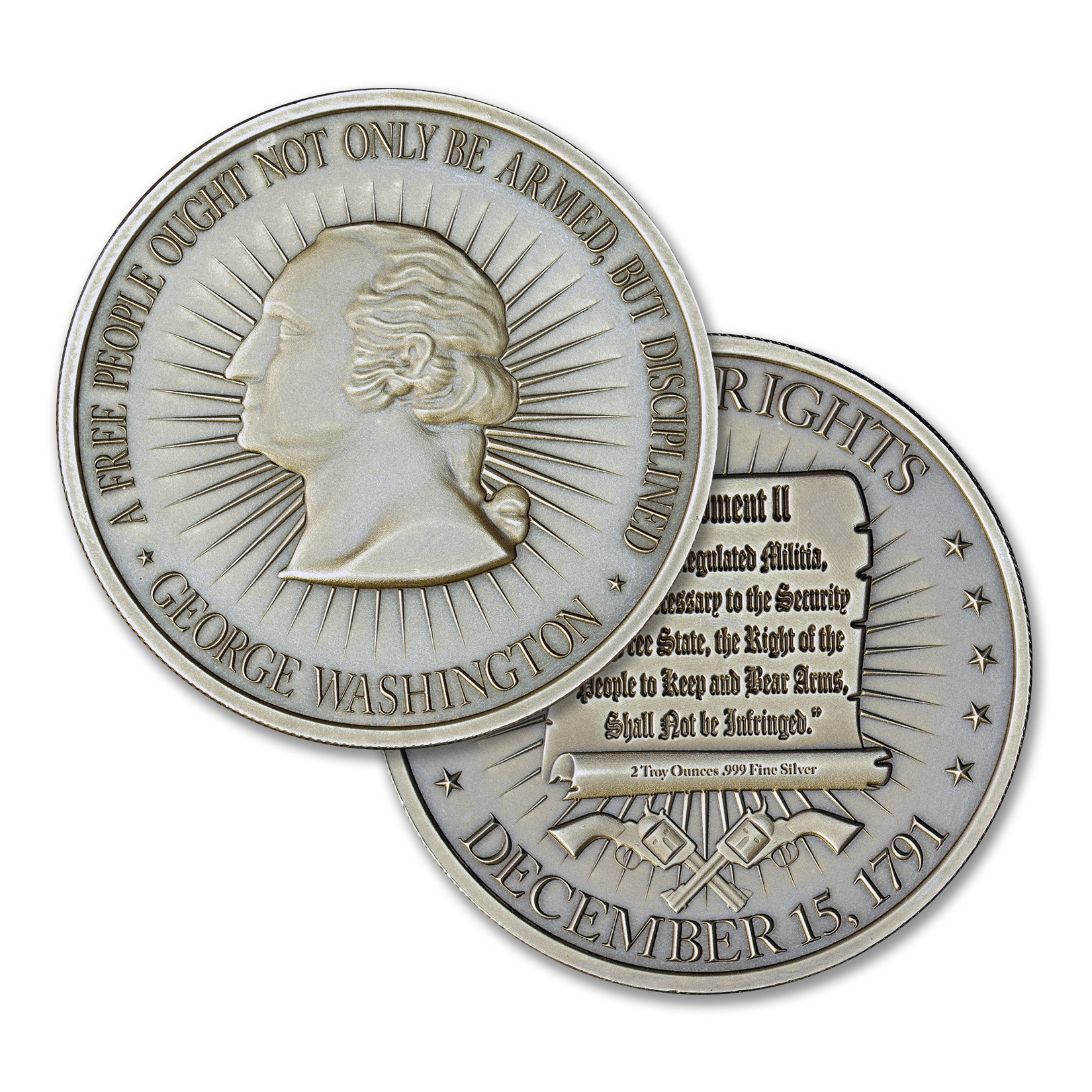 WASHINGTON BUST / BILL OF RIGHTS 2A – 2 TROY OUNCE – 50MM (ANTIQUED)