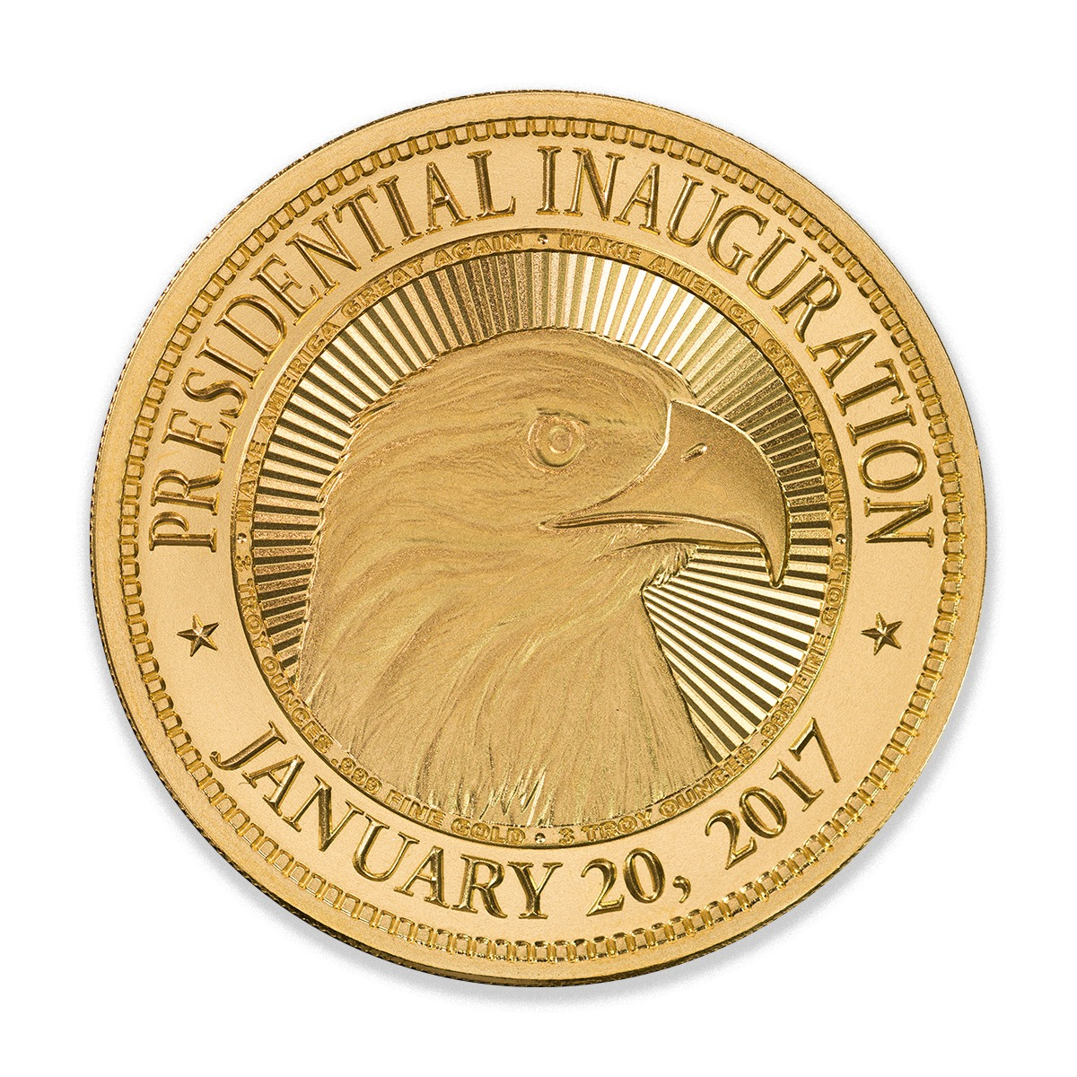 Trump Series - Inauguration - 3 ozt. 50mm .999 Fine Gold Art Medal with Airtite (Limited Mintage of 45)