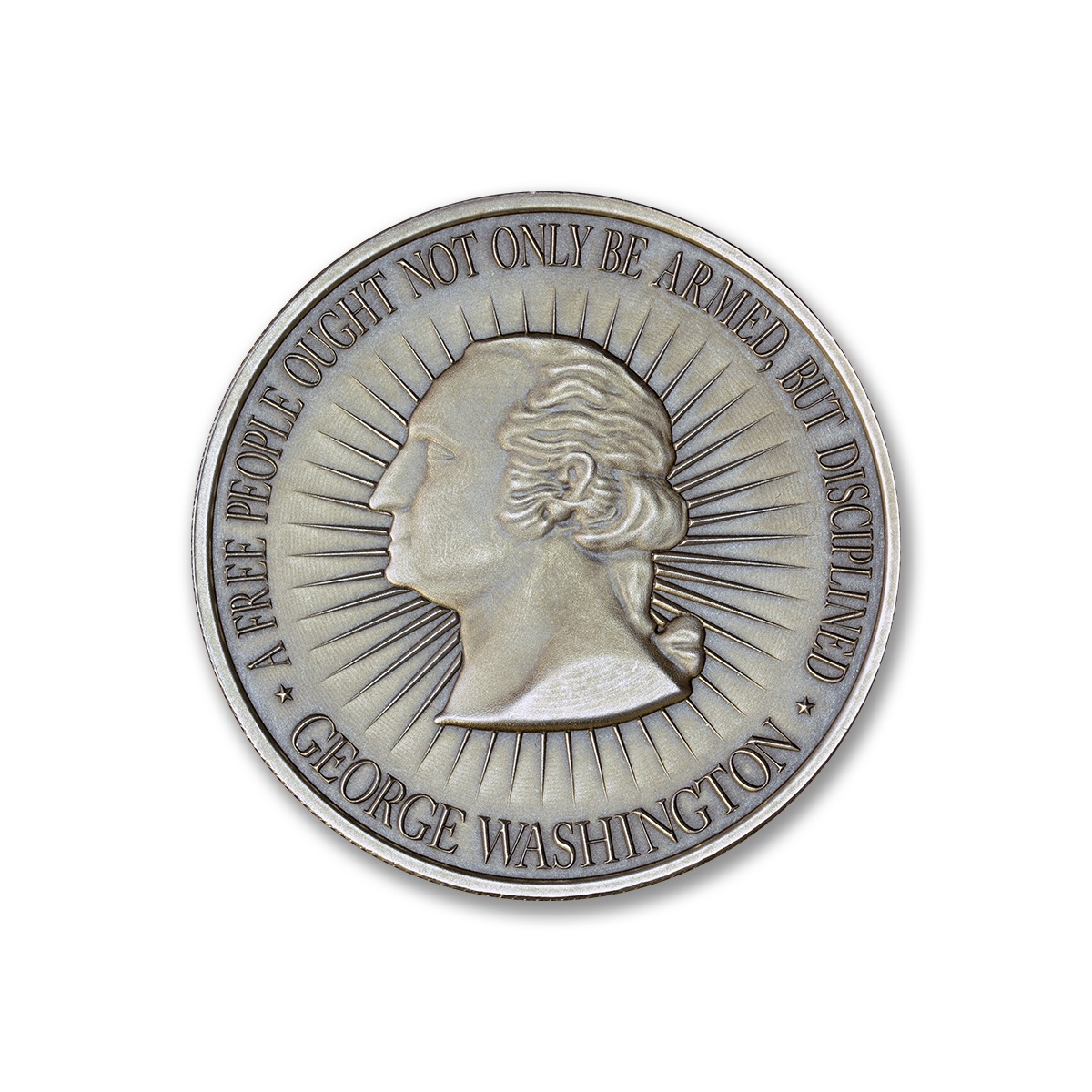 WASHINGTON BUST / BILL OF RIGHTS 2A – 1 TROY OUNCE – 39MM (ANTIQUED)