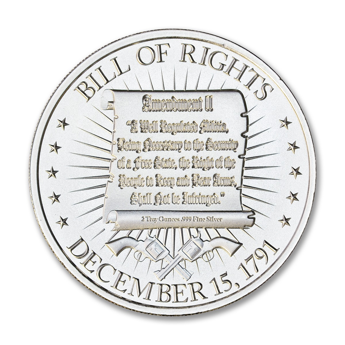 Washington Bust / Bill of Rights 2A - 2 ozt. 50mm .999 Silver Art Medal