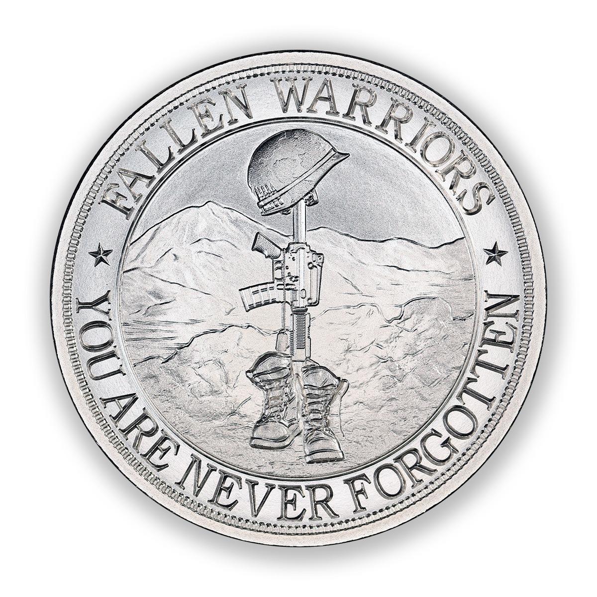 High Relief - Battlefield Cross Tribute - 2ozt 50mm .999 Fine Silver - 50mm Diameter - BU - Limited Mintage: 500