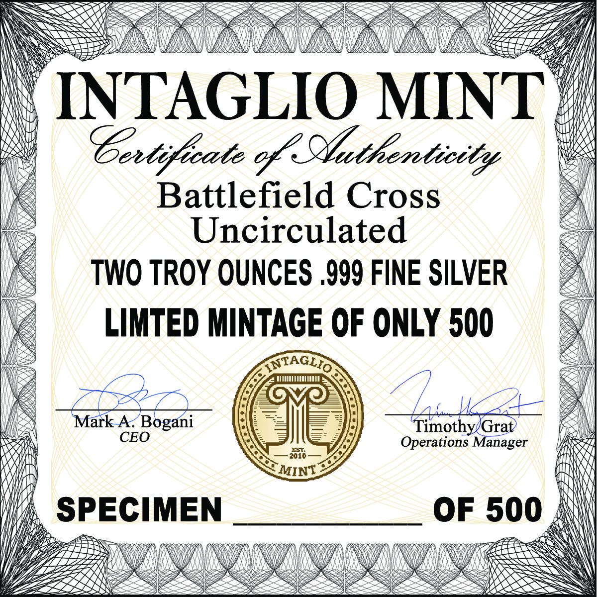 BATTLEFIELD CROSS – 2 TROY ONCE – 50MM (ONLY 500 MINTED!)