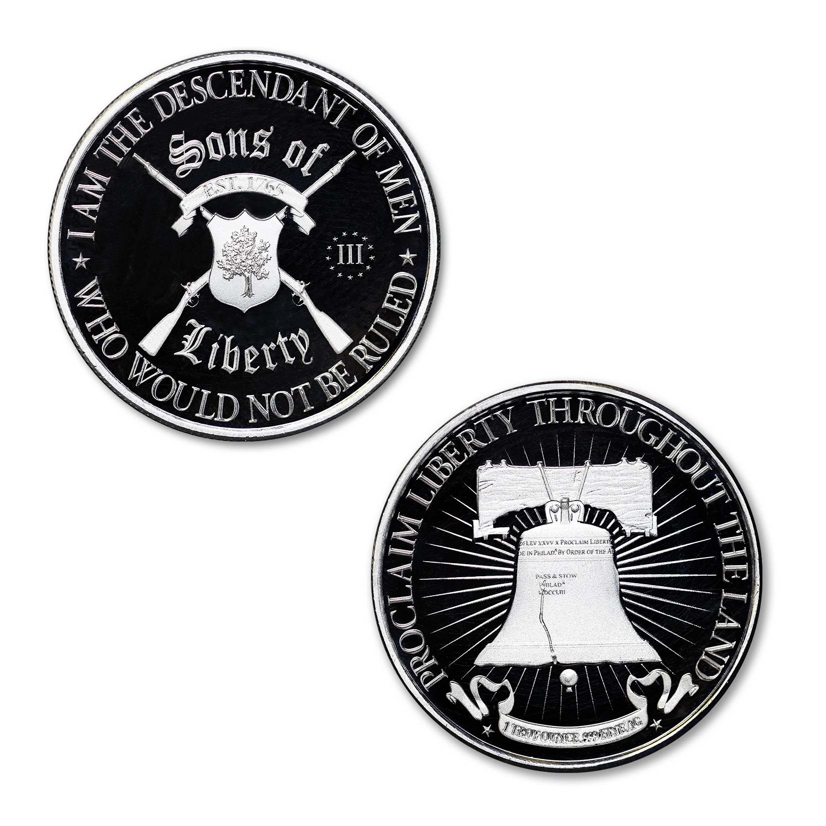 SONS OF LIBERTY, TYPE II / LIBERTY BELL – 1 TROY OUNCE – 39MM – LIMITED MINTAGE: 100 (PROOF)