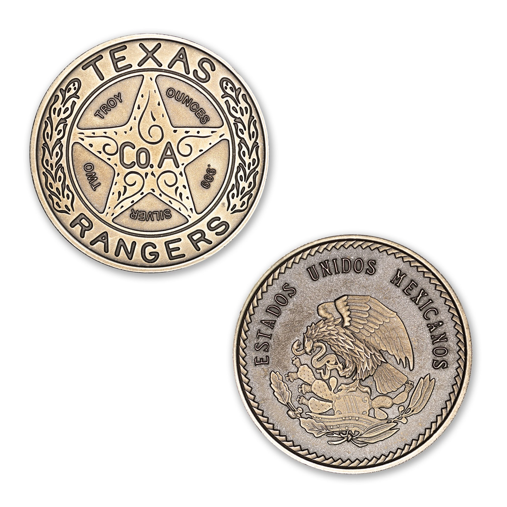 "The Texas Ranger ""Wagon-Wheel"" Badge Tribute - 2 ozt 39mm .999 Fine Silver Art Medal with ANTIQUE FINISH (6mm Thick)"