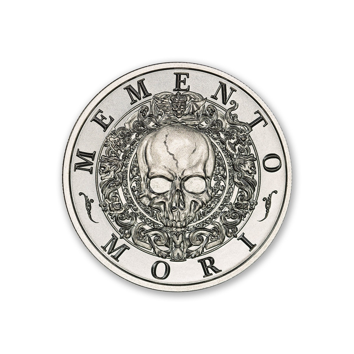 "Latin Allure Series - ""Memento Mori"" Art Medal - 2ozt. 39mm .999 Fine Silver Art Medal (6mm Thick)"