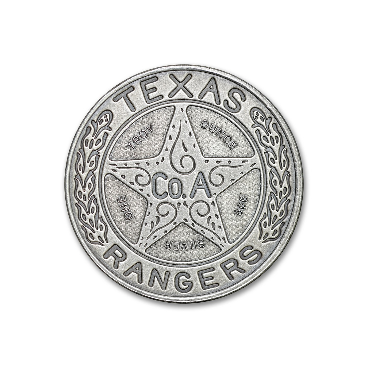 """The Texas Ranger """"Wagon-Wheel"""" Badge Tribute - 1 ozt 39mm .999 Fine Silver Art Medal with Antique Finish"""