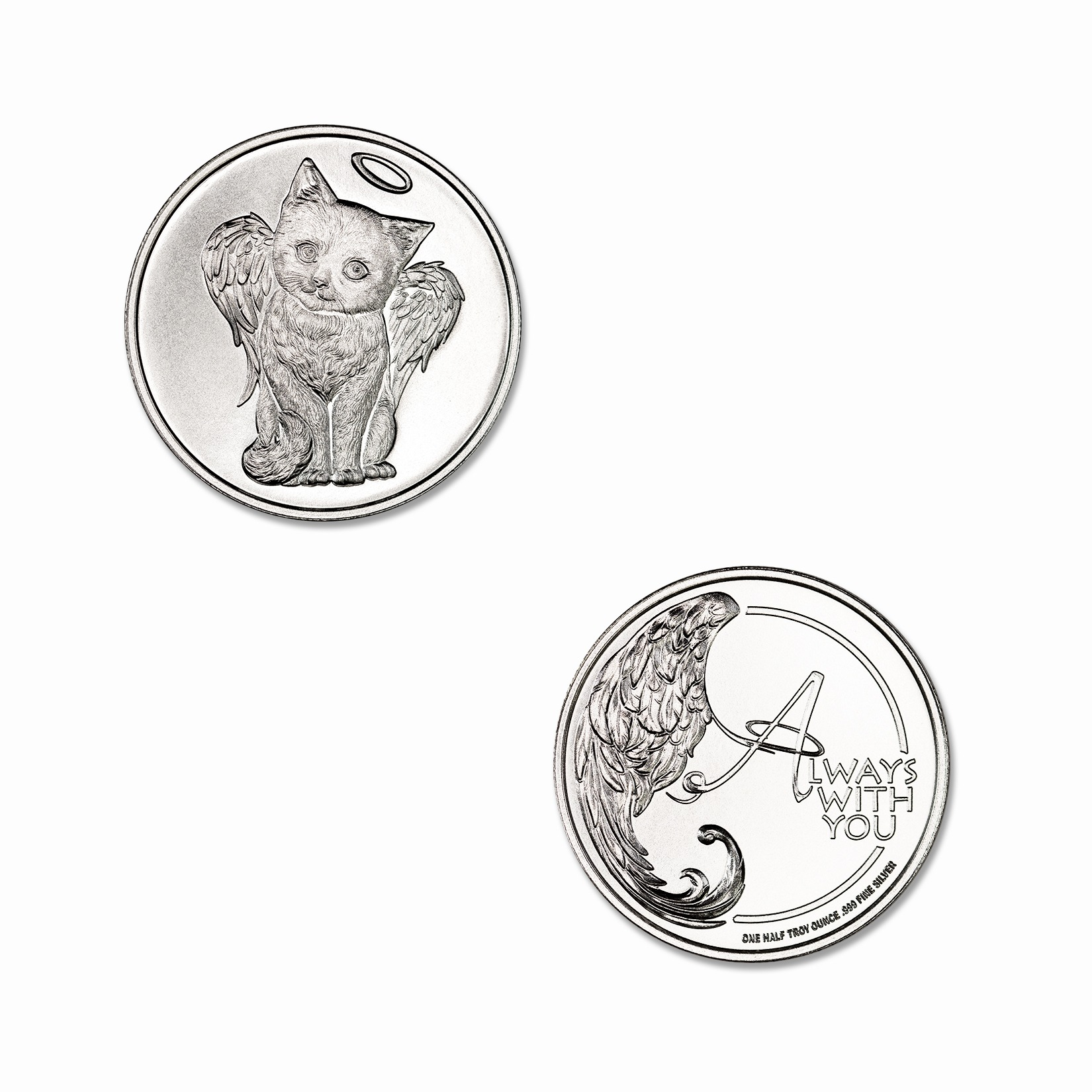 CHERUB CAT REMEMBRANCE TOKEN – 1/2 TROY OUNCE – 30MM
