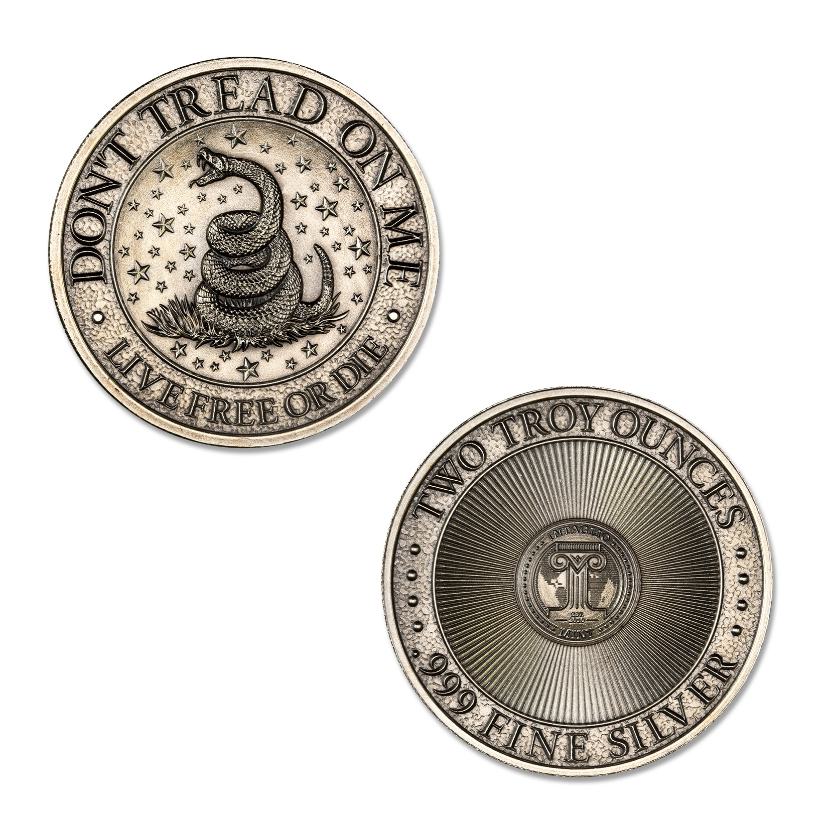 DON'T TREAD ON ME – 2 TROY OUNCE – 39MM (ANTIQUED)