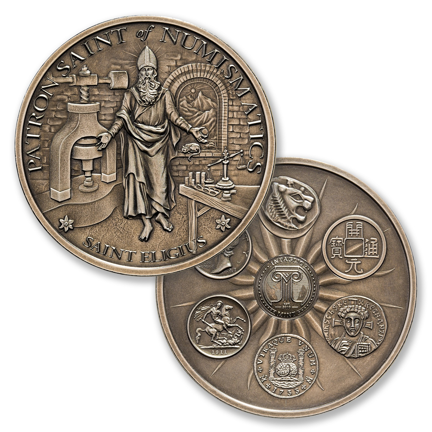 SAINT ELIGIUS – 2 TROY OUNCE – 50MM – LIMITED MINTAGE: 500 (ANTIQUED)