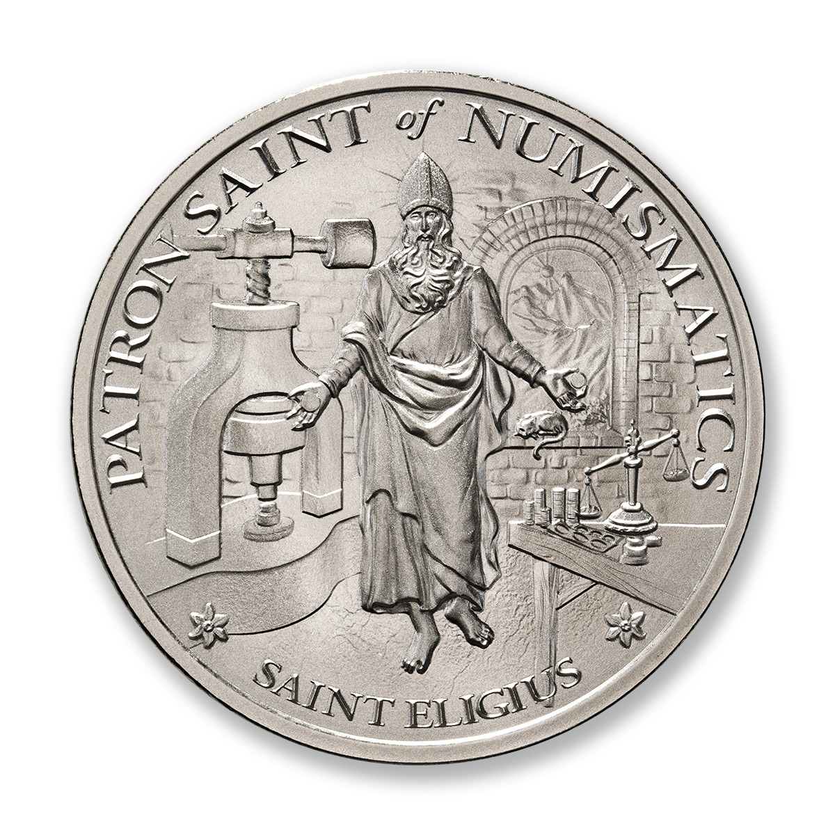 SAINT ELIGIUS – 2 TROY OUNCE – 50MM – LIMITED MINTAGE: 500