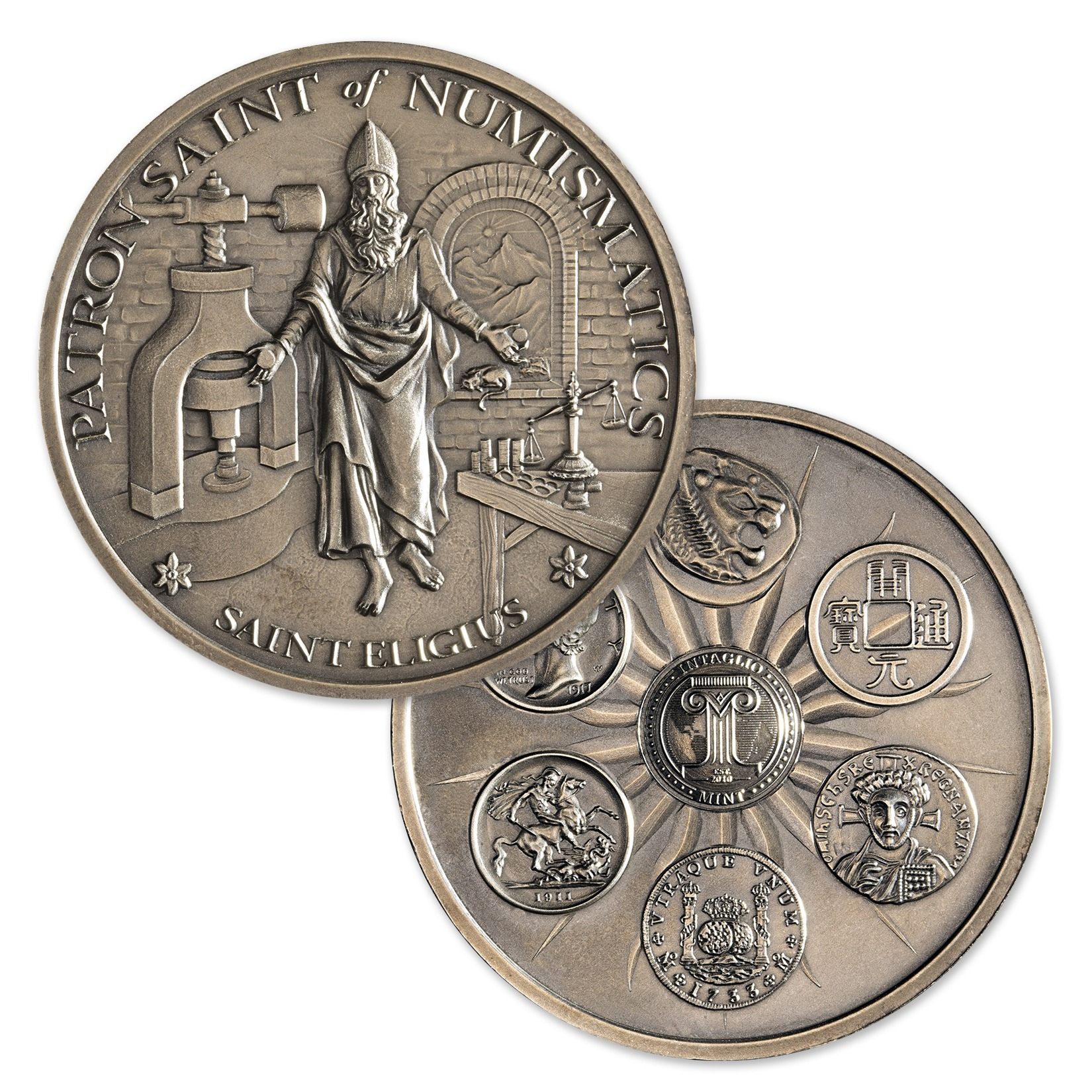 SAINT ELIGIUS – 5 TROY OUNCE – 50MM – LIMITED MINTAGE: 500 (ANTIQUED)