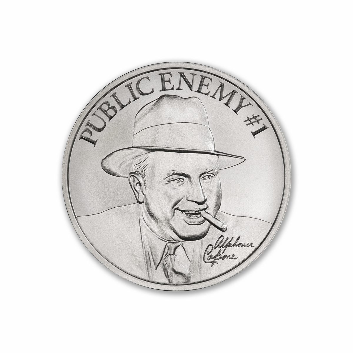 PUBLIC ENEMY #1 – ALPHONSE CAPONE –  1 TROY OUNCE – 39MM