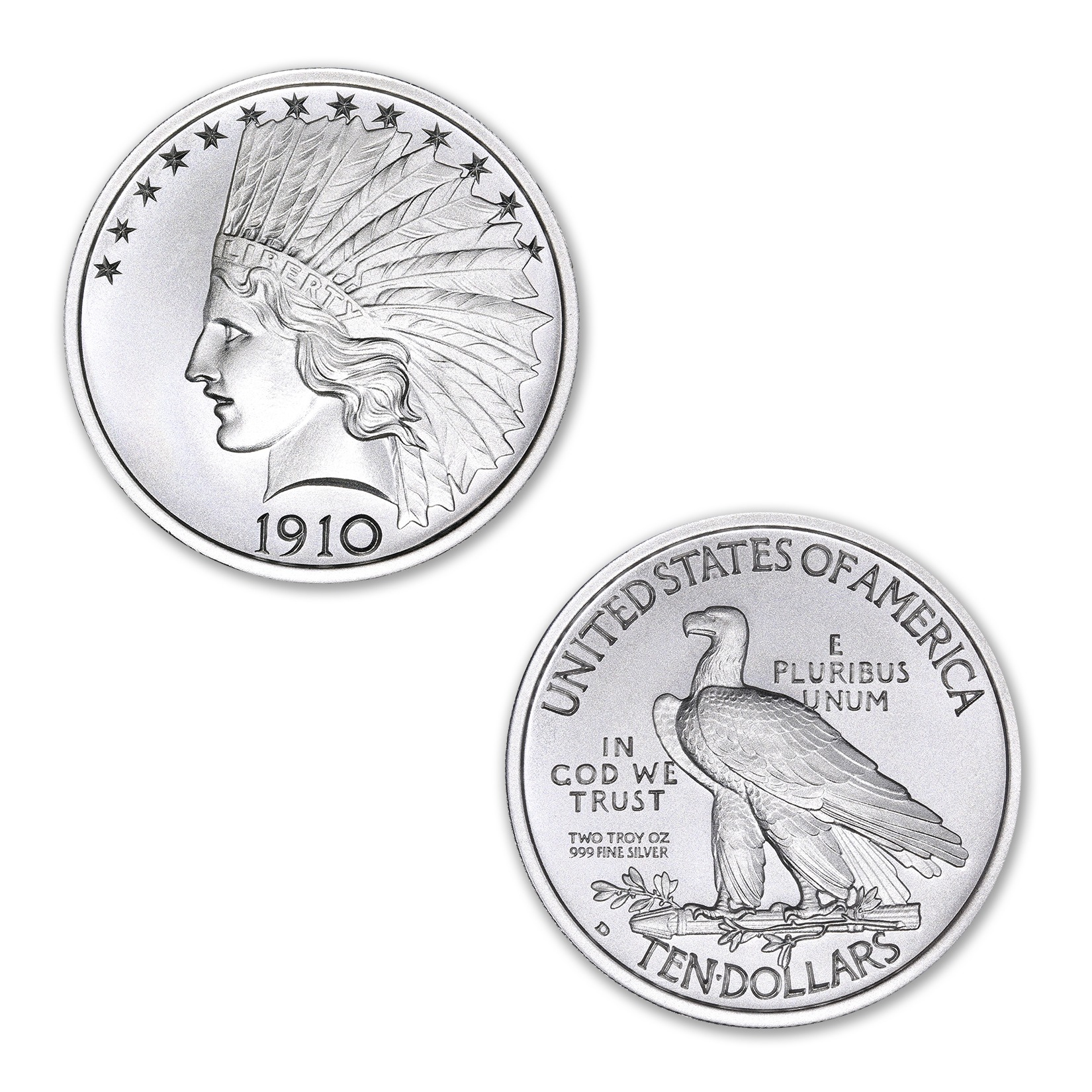 $10 INDIAN TRIBUTE – HIGH RELIEF – 2 TROY OUNCE – 39MM