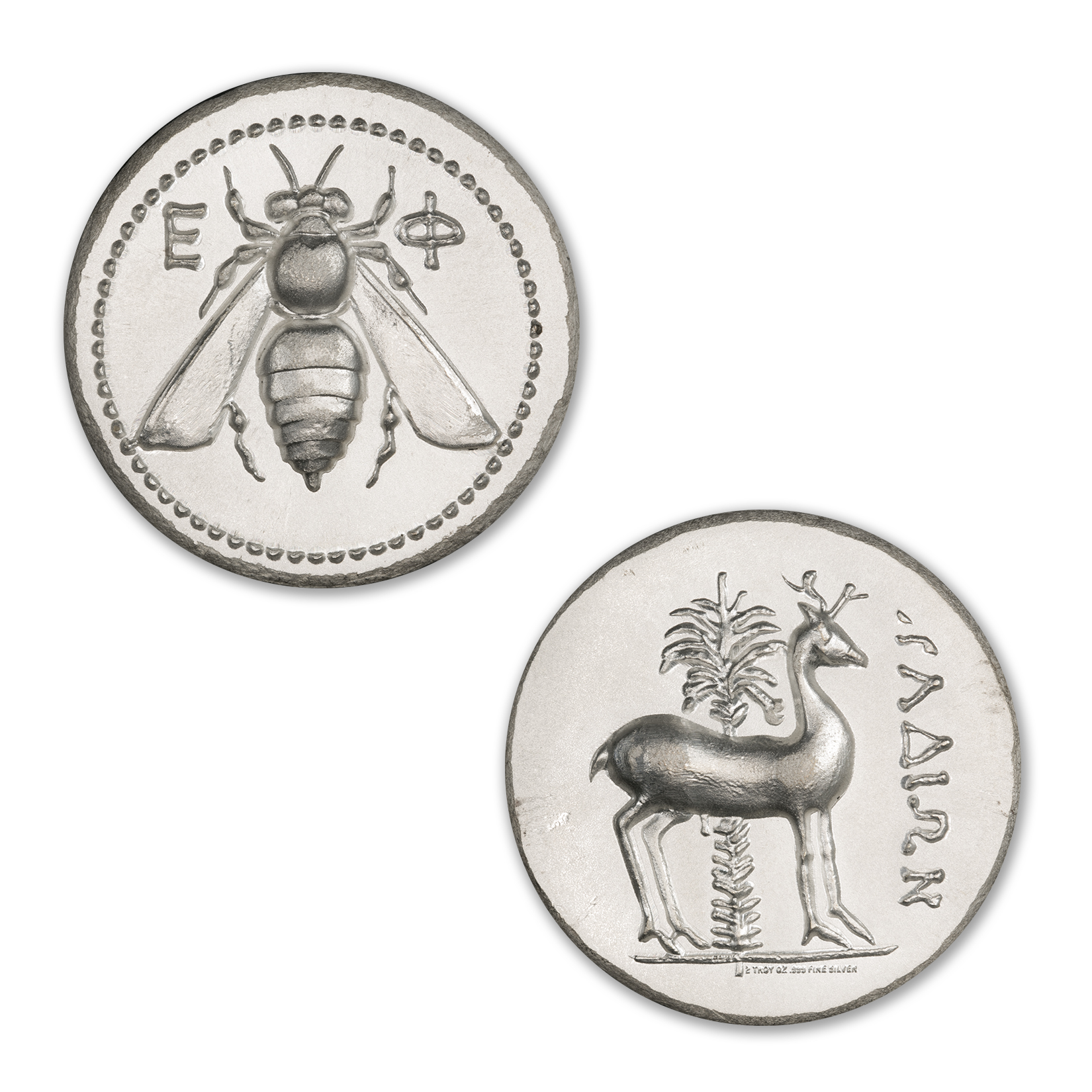 EPHESUS TETRADRACHM – STAG AND BEE – UHR – 2 TROY OUNCE – 36MM – BU FINISH –  (LIMITED MINTAGE: 1,000)