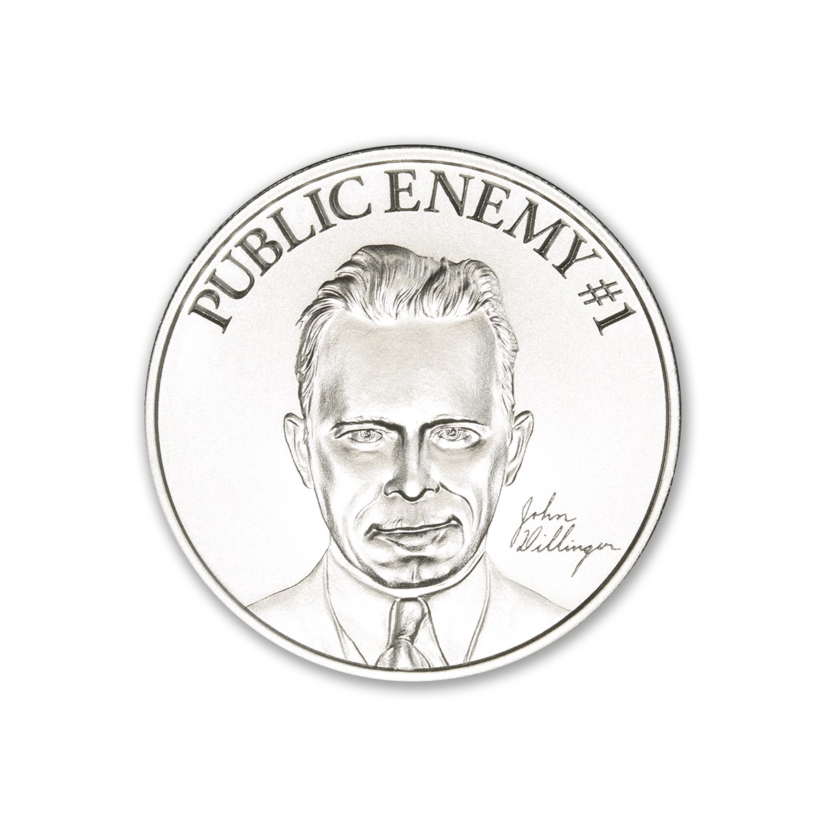 PUBLIC ENEMY #1 – JOHN DILLINGER –  2 TROY OUNCE – 39MM