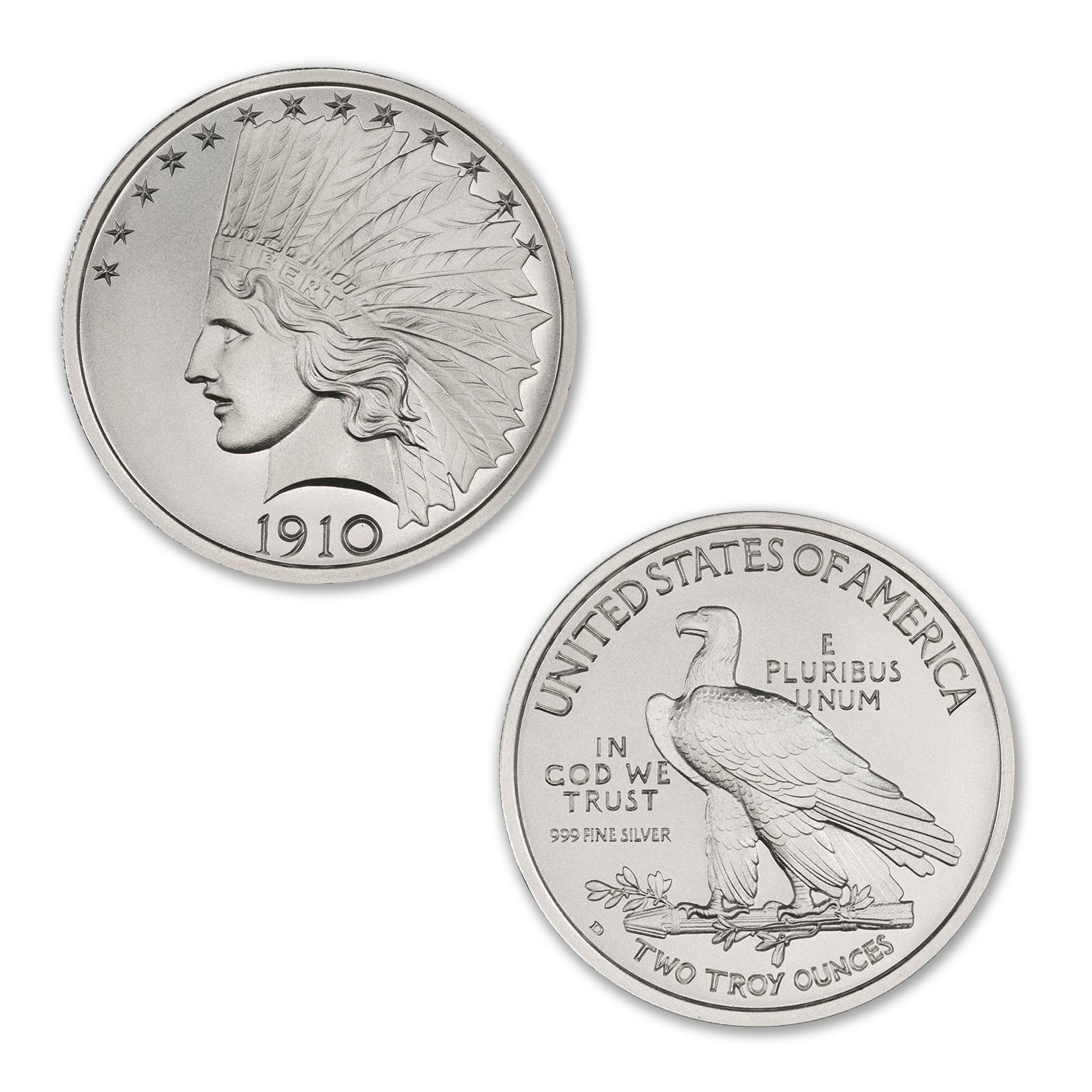 $10 INDIAN TRIBUTE – 2 TROY OUNCE – 39MM *DIE CLASH* – LIMITED MINTAGE OF 10