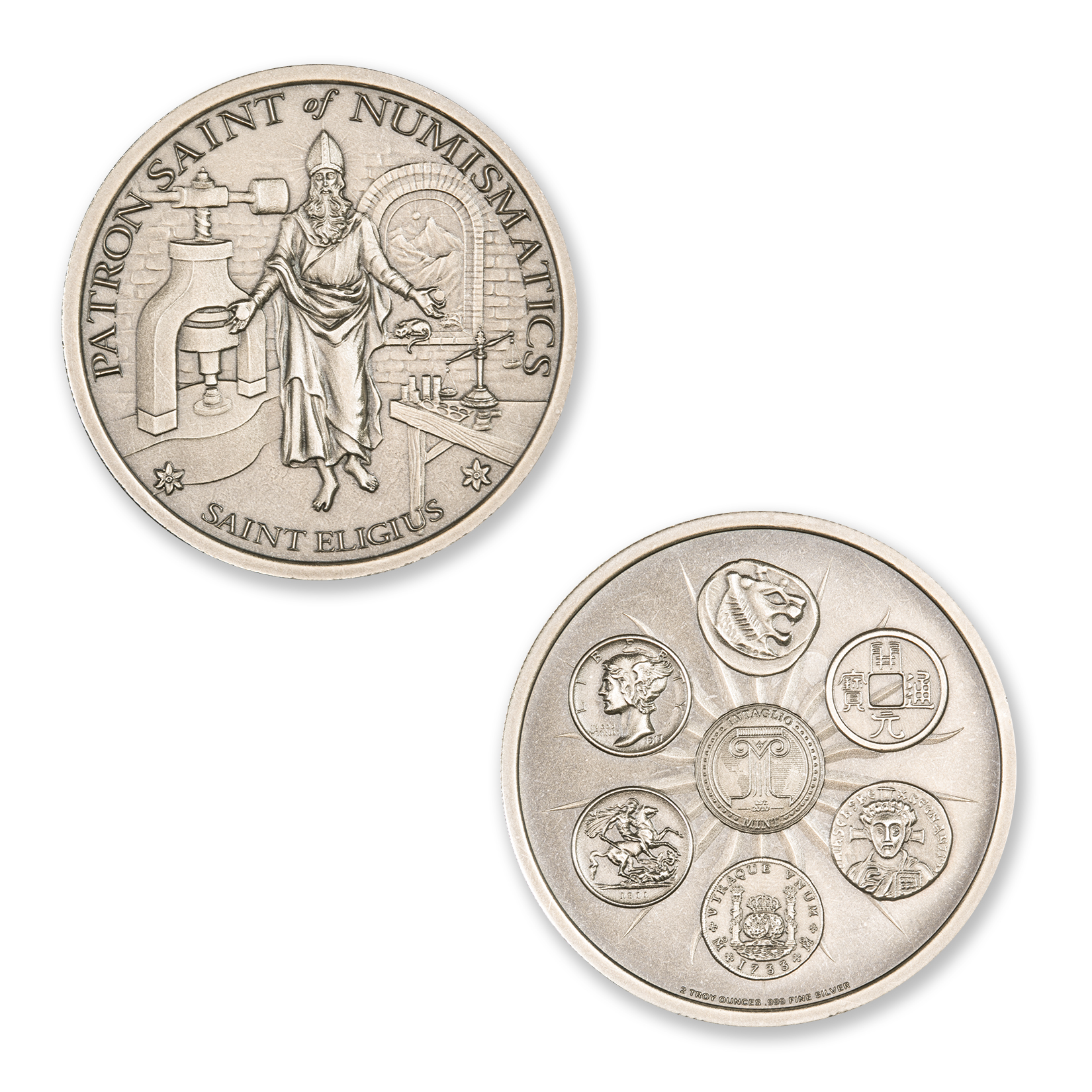 SAINT ELIGIUS – 2 TROY OUNCE – 39MM (ANTIQUED)