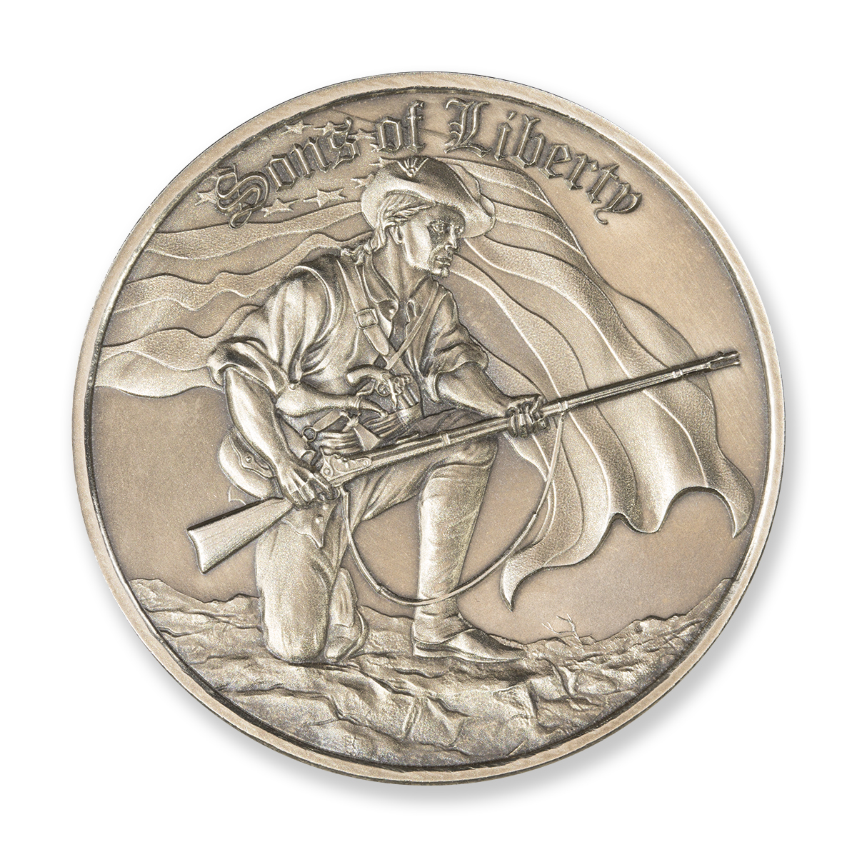 SONS OF LIBERTY, LIBERTY TREE – 2 TROY OUNCE – 50MM (ANTIQUED) (ONLY 500 MINTED)