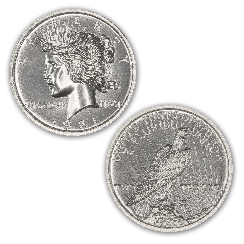 1-1 oz .999 Silver Round New Peace Dollar Design Brilliant Uncirculated
